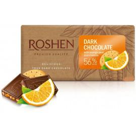 Roshen Dark Chocolate with orange peel and cookies 56% Cocoa 90g