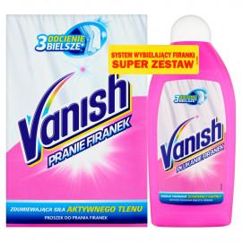 Vanish Proszek do prania firanek 400 g (6 prań) i Płyn do płukania białych firanek 500 ml