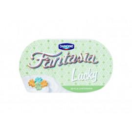 Danone Fantasia Lucky Jogurt kremowy z pszennymi koniczynkami w polewie o smaku mlecznym 98 g
