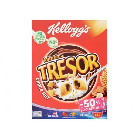Kellogg's Tresor Poduszki zbożowe z nadzieniem o smaku czekoladowo-orzechowym 375 g