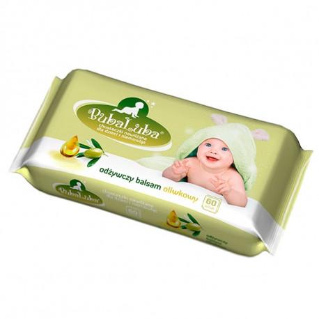 BubaLUBA chusteczki nawilżane dla dzieci odżywczy balsam oliwkowy 60szt