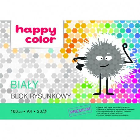 HAPPY COLOR Blok rysunkowy A4, biały premium 20 kartek