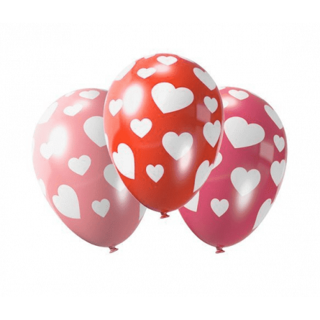 PartyTime Balony z nadrukiem - serca ( 5 sztuk )