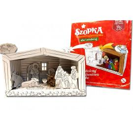 Szopka Bożonarodzeniowa kartonowa-Złóż i pokoloruj  30x18cm