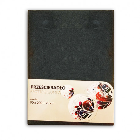 Tecomat Prześcieradło Frotte z gumką Szare 90 x 200 + 25 cm