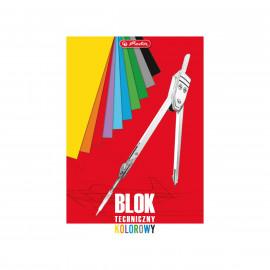 Blok techniczny kolorowy A4 , 10 arkuszy