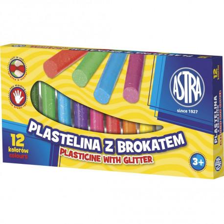 Asta Plastelina z brokatem 12 kolorów