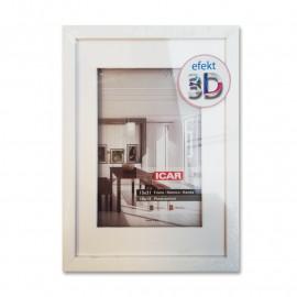 Icar Ramka drewniana 10x21 (10x15) Efekt 3D biała
