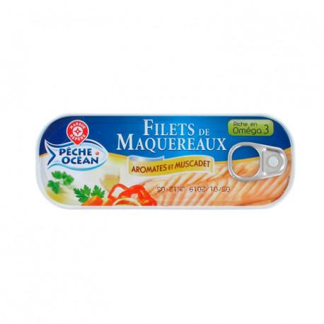 Filety z makreli w białym winie Muscadet z przyprawami. Konserwa rybna sterylizowana.