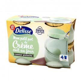 Krem mleczny z jajami o smaku pistacjowym.
