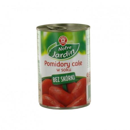 Pomidory całe bez skórki, w soku pomidorowym. Produkt pasteryzowany.