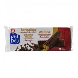 Wafelki z nadzieniem o smaku czekoladowym oblane czekoladą.