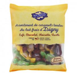 Mieszanka karmelków ze świeżym mlekiem z Isigny - o smaku kawy, czekolady, orzechów laskowych i wanili.