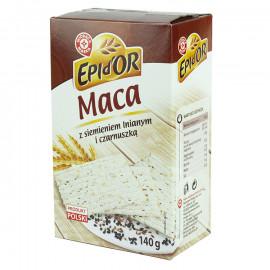 Maca pszenna z dodatkiem ziaren siemienia lnianego oraz czarnuszki, bez dodatku cukru.