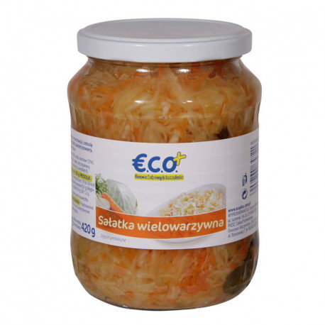 Sałatka z kapusty białej z marchwią i cebulą w zalewie octowej. Produkt pasterzyowany. Zawiera cukier i substancje słodzące.