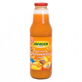 Napój przecierowy z marchwi, brzoskwiń i jabłek. Wzbogacony witaminą c, słodzony, pasteryzowany.