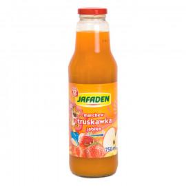 Napój przecierowy z marchwi, truskawek i jabłek. Wzbogacony witaminą c, słodzony, pasteryzowany.