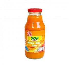 Napój przecierowy z marchwi, malin i jabłek. Wzbogacony witaminą c, słodzony, pasteryzowany.