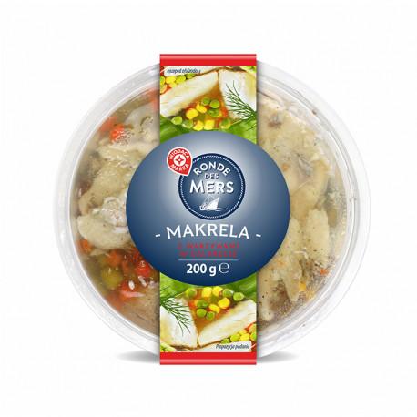 Parowane kawałki  makreli z warzywami w galarecie