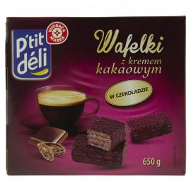 Wafle w czekoladzie przekładane kremem kakaowym