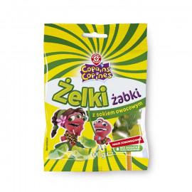 Żelki o smaku wiśniowo – śmietankowym, malinowo – śmietankowym, jabłkowo – śmietankowym z dodatkiem zagęszczonego soku jabłkoweg