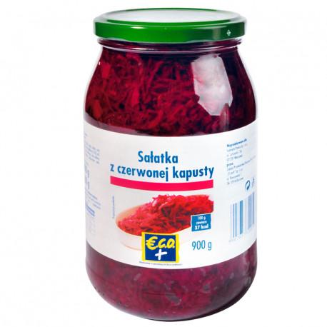 Sałatka z  czerwonej kapusty. Produkt pasterzyowany. Zawiera cukier i substancje słodzące.