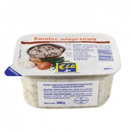 Smalec wieprzowy ze skwarkami wieprzowymi, cebulą smażoną i przyprawami