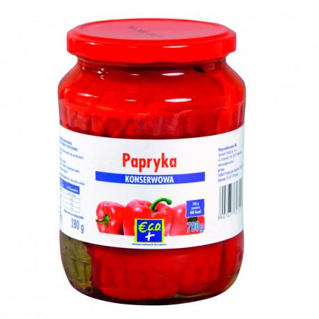 Papryka konserwowa w ćwiartkach. Produkt pasteryzowany.