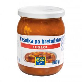 Fasola biała w sosie pomidorowym z kiełbasą wieprzowo-wołową, wędzoną. Produkt sterylizowany.