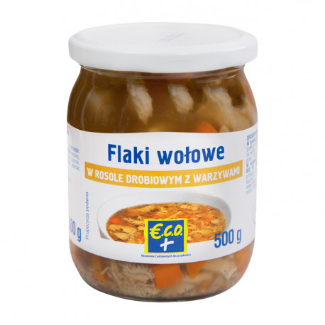 Przedżołądki wołowe w rosole drobiowym z warzywami. Produkt sterylizowany.