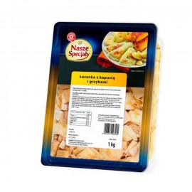 Makaron łazanki z kapustą białą kwaszoną, maślakiem zwyczajnym i pieczarkami suszonymi