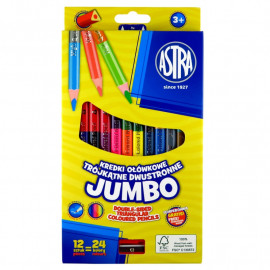 Astra Kredki ołówkowe trójkątne dwustronne Jumbo 12sztuk 24 kolory + temperówka