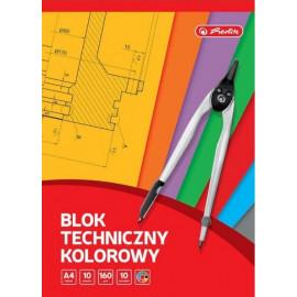 Herlitz Blok techniczny kolorowy A4 10 arkuszy