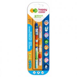 Happy Color Wymazywalne długopisy żelowe + zestaw  3 skuwek z gumką