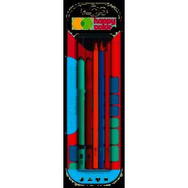 Happy Color Trendy Długopis usuwalny 2szt. + Ołówek HB kwadratowy 3szt.