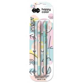 Happy Color Story Długopis żelowy usuwalny niebieski 2szt.