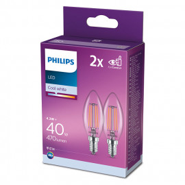 Philips Żarówka Led A++ 2szt E14-4.3w-40W Cool White