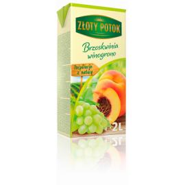NAPÓJ BRZOSKWINIOWO – WINOGRONOWY  częściowo z soku zagęszczonego. Zawartość owoców minimum 20%. Zawiera cukry i substancje słod