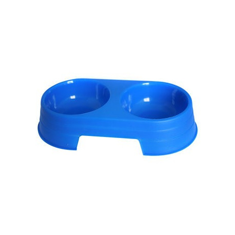 Hilton miska podwójna plastikowa niebieska dla psa 2x170ml