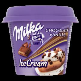 Milka Lody czekoladowe i o smaku waniliowym z kawałkami czekolady mlecznej 185 ml