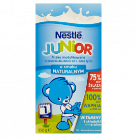 Nestlé Junior Mleko modyfikowane w proszku dla dzieci od 1. roku życia o smaku naturalnym 350 g