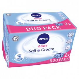 NIVEA Baby Soft and Cream Chusteczki 2 x 63 sztuki