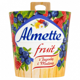 Almette Fruit z jagodą i maliną Puszysty serek twarogowy 150 g