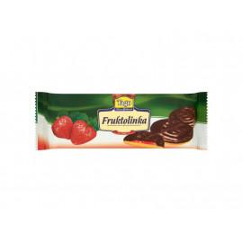 Tago Fruktolinka Biszkopty z żelem truskawkowym w polewie czekoladopodobnej 130 g