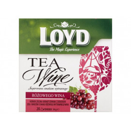 Loyd Tea & Wine Herbata zielona aromatyzowana o smaku różowego wina 34 g (20 torebek)