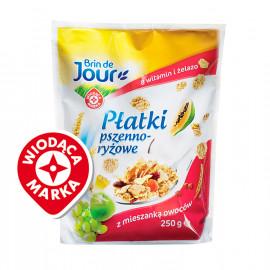Płatki pszenno-ryżowe w polewie cukrowej wzbogacone w 8 witamin i żelazo z mieszanką owoców