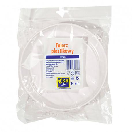talerz biały plastikowy (PS) do dań głównych średnica 22 cm (24 szt)