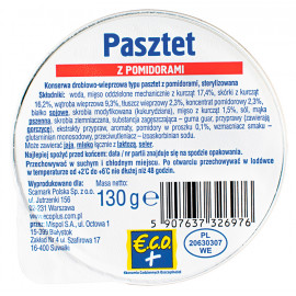 Konserwa drobiowo-wieprzowa typu pasztet z pomidorami, sterylizowana.
