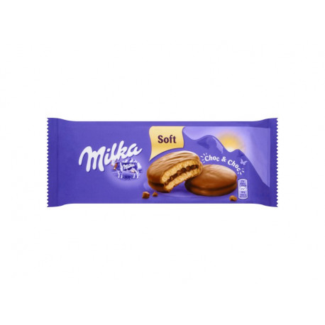 Milka Choc&Choc Ciastka biszkoptowe przekładane nadzieniem kakaowym i kawałkami czekolady 150 g