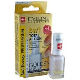 Eveline - Nail Therapy - 8w1 TOTAL ACTION - Skoncentrowana odżywka do paznokci GOLD SHINE 12ml